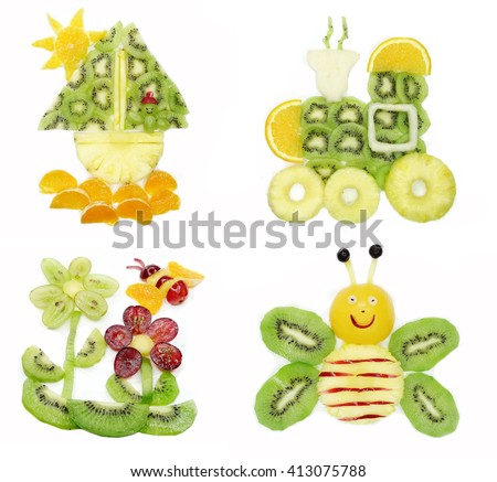 creative fruit dessert for child funny form man sailing in the ship collage