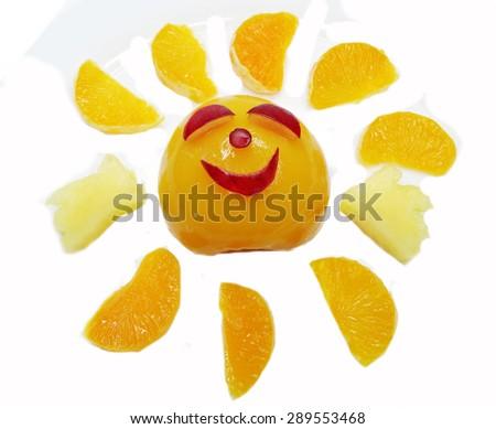 creative fruit dessert for child funny form sun - stock photo