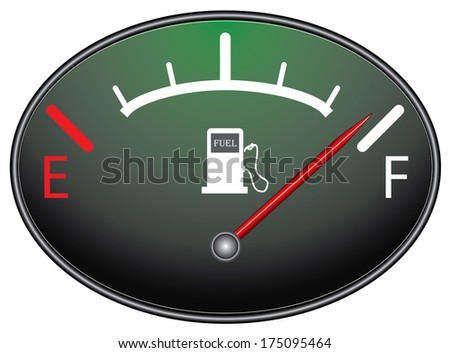 Creative fuel gauge indicating near full, raster version. Creative illustration with red indicator. For more variations please visit my portfolio.