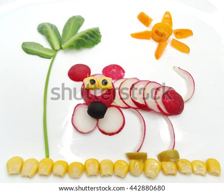 creative funny vegetable food snack with radish dog - stock photo