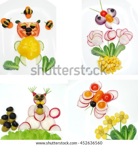 creative funny vegetable food snack with tomato bear form - stock photo