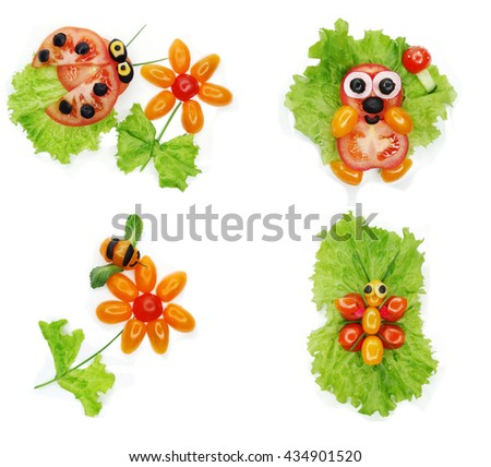 creative funny vegetable food snack with tomato lady-bird form - stock photo
