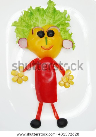 creative funny vegetable food snack with tomato man form - stock photo