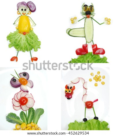 creative funny vegetable food snack with tomato woman form - stock photo