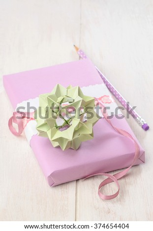 creative gift ideas for gift wrapping decoration origami ball - stock photo