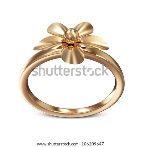 Creative Golden Ring isolated on white background