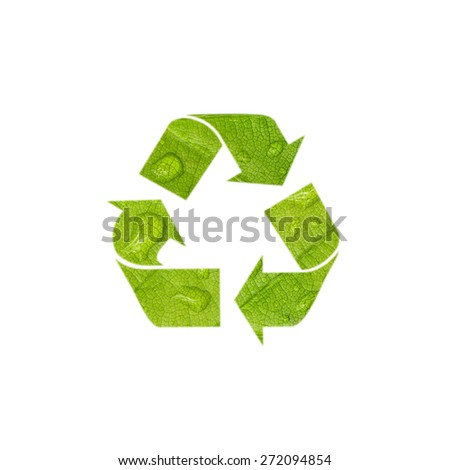Creative green color recycle symbol, isolated on white background. Lovely recycle symbol with added leaf droplet texture. - stock photo