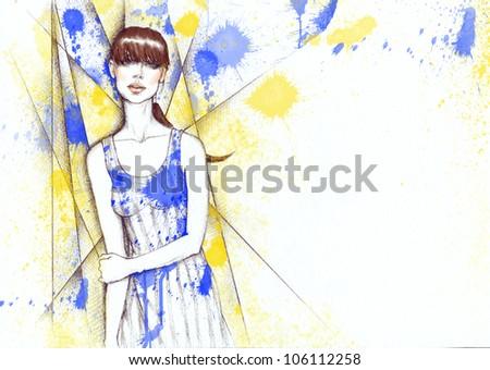 Creative hand painted fashion illustration - stock photo