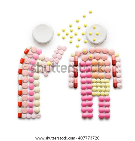 Creative health concept made of drugs and pills, isolated on white. A person that caught a cold, sneezing and spreading disease while standing near another person. - stock photo