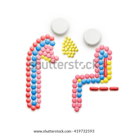 Creative health concept made of drugs and pills, isolated on white. A sick person in pain vomiting near another person.