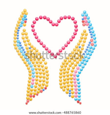 Creative healthcare and charity concept made of drugs and pills, isolated on white. Medical pharmacy heart symbol.