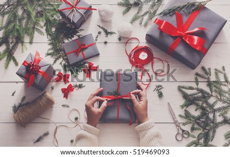 Gift wrapping stock images royalty free images vectors gift wrapping packaging modern christmas present boxes in stylish gray paper with negle Image collections