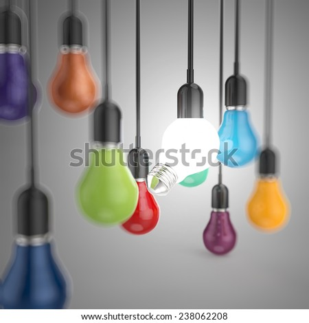 creative idea and leadership concept 3d colors light bulb - stock photo