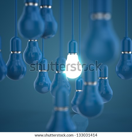 creative idea and leadership concept light bulb 3d design concept - stock photo