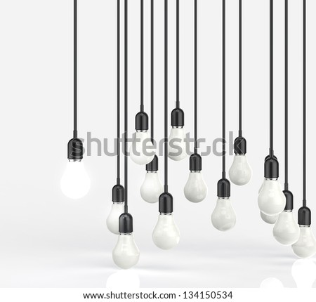 creative idea and leadership concept with 3d light bulb - stock photo