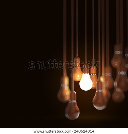 creative idea and leadership concept with 3d orange light bulb - stock photo