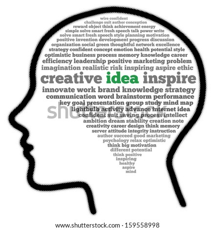 Creative idea in head shape words cloud - stock photo