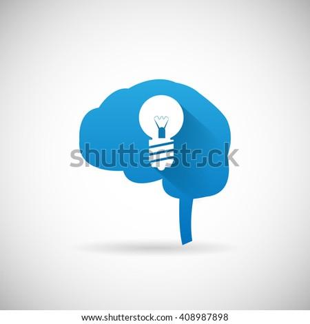 Creative Idea Symbol Brain and lightbulb silhouette Icon Design Template Illustration - stock photo