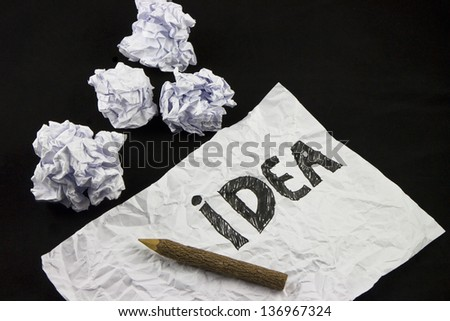 Creative ideas with Crumpled Paper Ball - stock photo