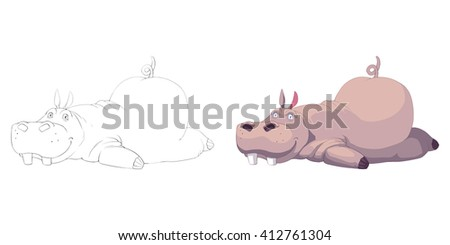 Creative Illustration and Innovative Art: Animal Set: The Sketch Line Art and Coloring Book: Exhausted Hippo. Realistic Fantastic Cartoon Style Artwork Scene, Wallpaper, Story Background, Card Design  - stock photo