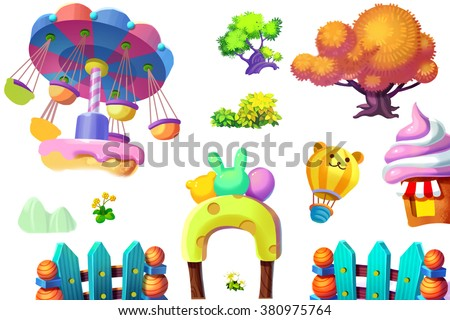Creative Illustration and Innovative Art: Nature and Playground Cartoon Items Set isolated 1. Realistic Fantastic Cartoon Style Artwork Scene, Wallpaper, Story Background, Card Design  - stock photo