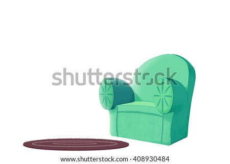 Creative Illustration And Innovative Art: Sofa And Carpet Isolated On White  Background. Realistic Fantastic