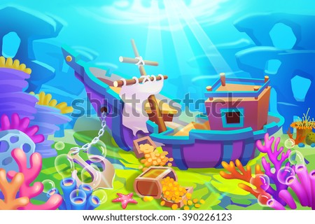 Creative illustration innovative art under sea stock illustration creative illustration and innovative art under the sea finding treasures from shipwrecks realistic publicscrutiny Image collections