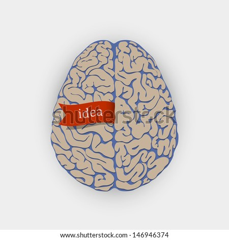 Creative illustration human brain.Raster version - stock photo