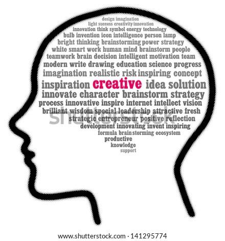 Creative in words cloud - stock photo