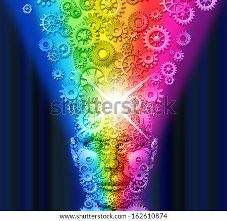 Creative innovation and inspiration spark with a front view human head made of gears and cogs as a mind exploding rainbow color gear wheels as a business metaphor for marketing and communication. - stock photo