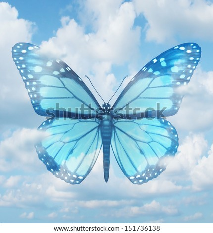 Creative inspiration and aspirations concept with a blue monarch butterfly in a sky background as a spiritual idea of hope  learning and freedom as an icon of rebirth and renewal. - stock photo