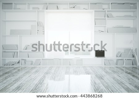 Creative interior with built-in bookcase, blank laptop, wooden floor and window with city view. 3D Rendering - stock photo