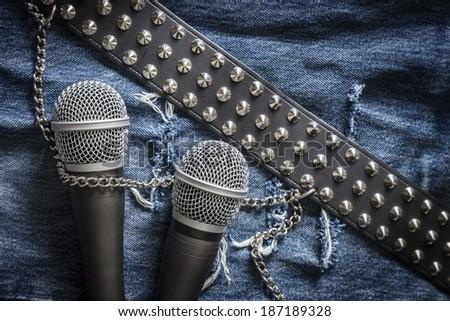 Creative karaoke / singer / rock band - stock photo
