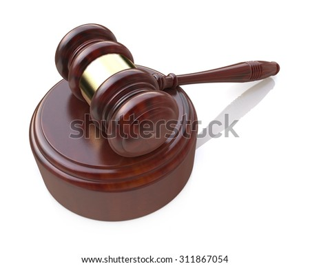 Creative law, justice and auction lot bidding business concept: wooden gavel, mallet or hammer with wood stand isolated on white background - stock photo
