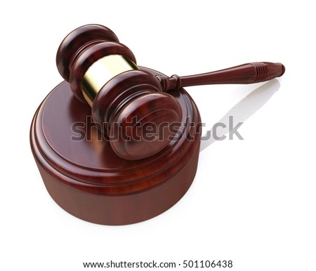 Creative law, justice and auction lot bidding business concept: wooden gavel, mallet or hammer with wood stand isolated on white background. 3d illustration