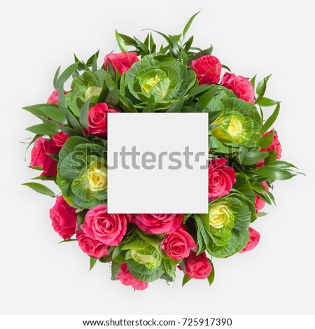 Creative layout made flowers leaves paper stock photo royalty free creative layout made of flowers and leaves with paper card note flat lay mightylinksfo Images