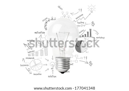 Creative light bulb idea with drawing business success strategy plan, Inspiration concept modern design, isolated on white background - stock photo