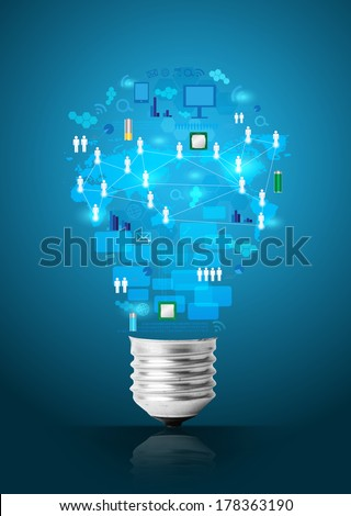 Creative light bulb with technology business network process diagram concept idea - stock photo