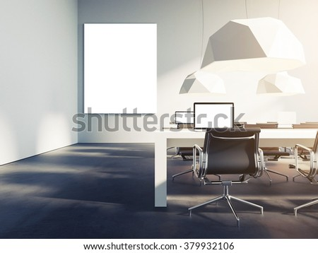 Creative Loft Style Office Studio. With Empty Poster Template. Trendy  Colors. 3d Render