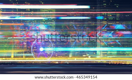 Creative look on Hong Kong island central quay with observation wheel during laser show from Victoria's harbour. Blurred glowing night abstract shot