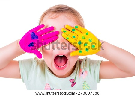 creative loud screaming little female - stock photo
