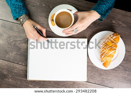 Creative Lunch coffee break inspiration. Draw sketches or write brilliant ideas. Inspiration for designer artist. Empty space notebook for blog entries, you can place your text information. Top view.  - stock photo