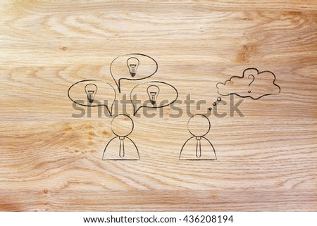creative man reacting with plenty of ideas and another person overanalysing the situation, business men icons version - stock photo