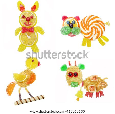 creative marmalade candy sweet child dessert hare form collage                              - stock photo