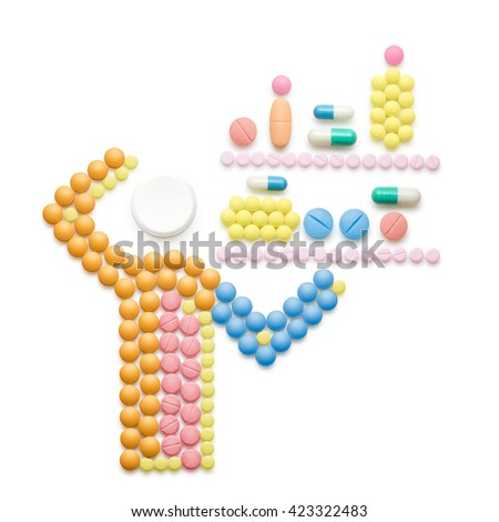 Creative medicine and healthcare concept made of drugs and pills; ill person standing in front of shelves full of pills, isolated on white.