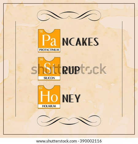 Creative menu breakfast pancakes honey poster stock illustration creative menu breakfast pancakes honey poster from periodic table elements illustration over texture coffee grunge background urtaz Image collections