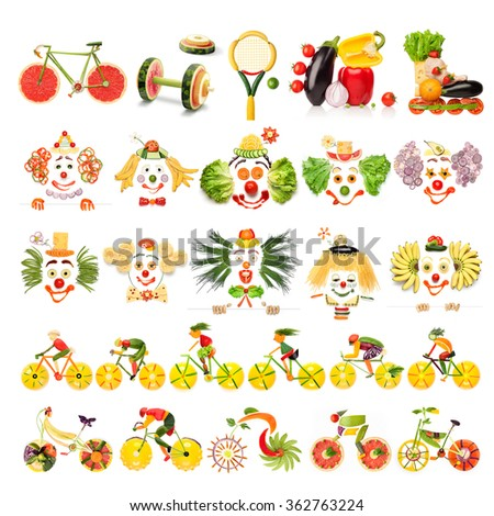 Creative menu set of food concepts with clowns, sports equipment and cyclists made of vegetables and fruits, isolated on white. - stock photo