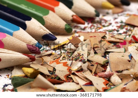 Creative mess on the table cartoonist. Colorful wooden pencils. - stock photo