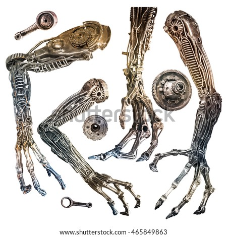 Creative metallic robot hand made from machine part isolated on white background