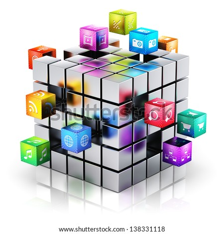 Creative mobile applications, media technology and internet networking web communication concept: metal cube with cloud of color application icons isolated on white background with reflection effect - stock photo